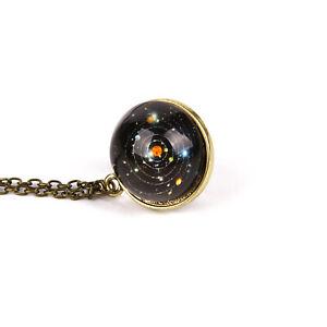 Sonnensystem-Halskette-Planeten-Doppelseitige-Glaskuppel-Galaxy-Anhaenger-Damen