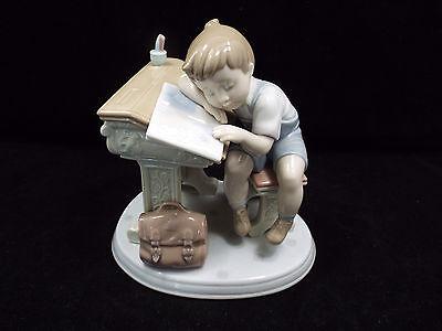 Lladro Figurine #6801 Sleepy Scholar, Boy Sleeping on Desk