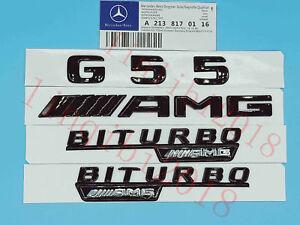 2018 Flat G63 AMG V8 BITURBO Gloss Black Badge Sticker for Mercedes Benz