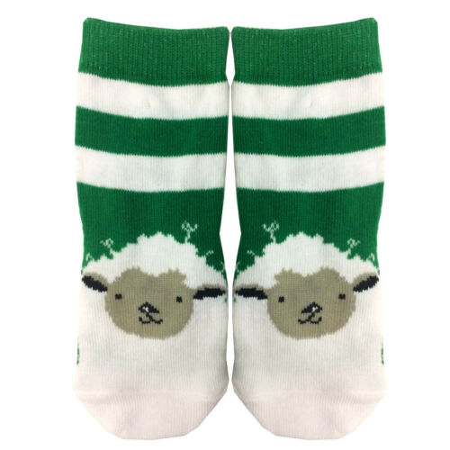 White Kids Lucky Irish Socks With Green Stripes And Sheep Design