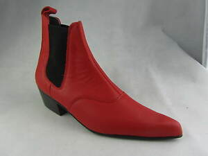 Retro Mens Red Leather Chelsea Beatle Beat Boots Cuban Heel Pointed Toe