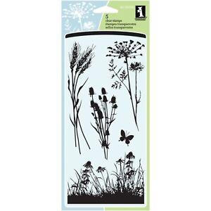 Meadow-Wildflower-Flower-Clear-Acrylic-Stamp-Set-by-Inkadinkado-60-30496-NEW