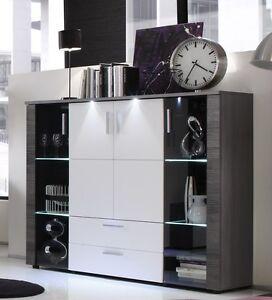Credenza moderna Enjoy, vetrina bianca e grigia,mobile soggiorno ...