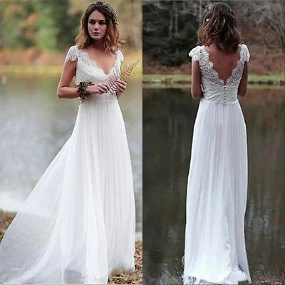 Boho Summer Beach V Neck Lace Cap Sleeve Wedding Dress Bridal Gown Size 6 16 | eBay
