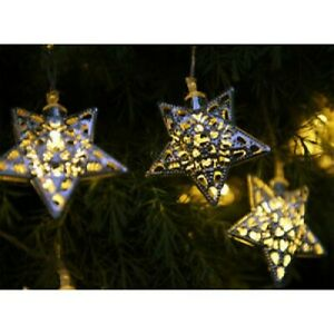 Details About Solar 10 Star Garden Lights Moroccan Style Outdoor Hanging Fairy String Lanterns