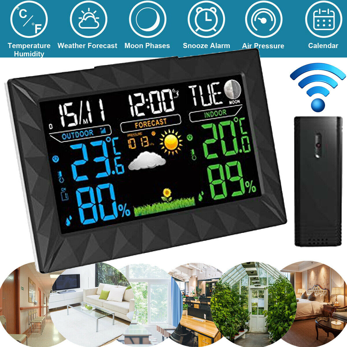 Wetterprognose Weckalaram Funkwetterstation Funkuhr Wecker LCD Farbdisplay