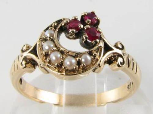 DIVINE  9CT 9K gold RUBY & PEARL MOON CREST & SUN RING FREE RESIZE
