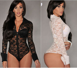 Sexy Women Deep V Neck Sheer Long Sleeve Lace Leotard Bodysuit Top ...