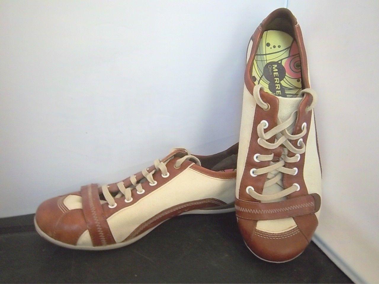 MERRELL - Women's Beige Tan Pirouette Canvas Leather Walking shoes - SIZE 8