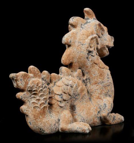 Rostoptik Gartendeko Glücksdrache Statue Chinesische Drachen Gartenfigur XXL
