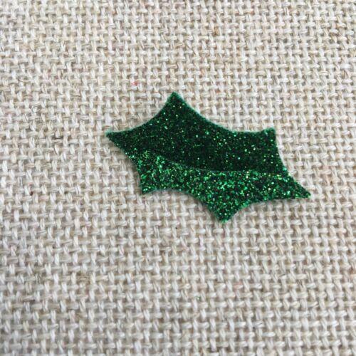 3.8 X 2cm y bayas empavesado Adviento X12 Brillo Fieltro Navidad Acebo dado corta