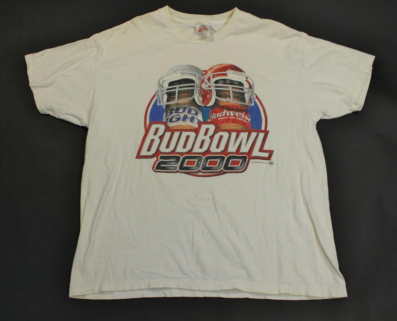 Super Bowl Bud Bowl Light Budweiser Beer Alcohol Funny Shirt VTG 2000 Y2K XL