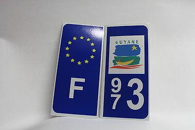 Analytisch 2x Sticker Reflechissant Département 973 Guyane+f Gemakkelijk Te Smeren