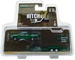 1-64-GreenLight-HITCH-amp-TOW-14-Green-2015-Silverado-Heavy-Duty-Flatbed-Trailer