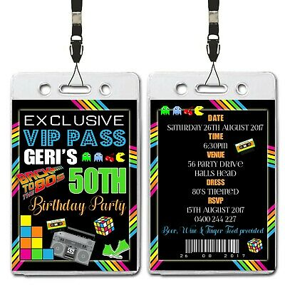 Personalised 80s Themed Birthday Party invitations x 10
