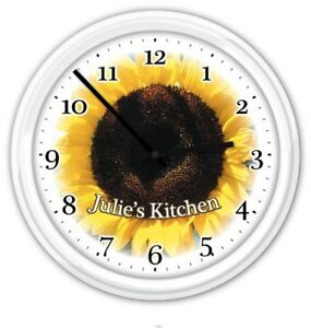 Image Is Loading Sunflower PERSONALIZED Wall Clock Kitchen  Bathroom Restroom Bedroom