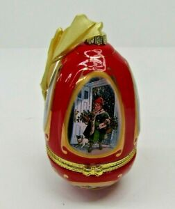 Mr Christmas Musical Egg Ornament Trinket Valerie Parr Hill Red