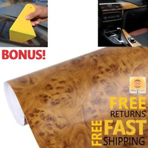 Carbon Fiber Car Wrap Roll Stikers Vinyl High Gloss Decal Paper Film Wood Brown
