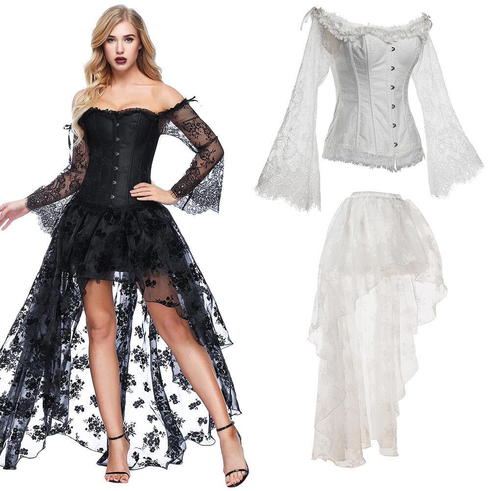 Women Gothic Steampunk Lace Up Bustier Corset Dress Set w Sleeve+Irregular Dress