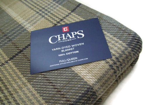 Chaps Home Multi Colors 100/% cotton Brown Gray Plaid Full Queen Blanket New