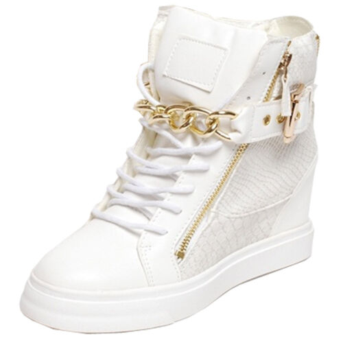 Epicsnob Womens Shoes High Top Wedge Hidden Heel Gold Chain Fashion Trainers