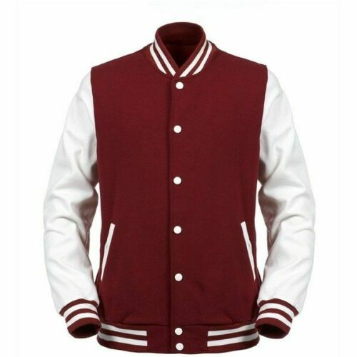 Details about  /Varsity Baseball Bomber Letterman Jacket Wool Body /& White Real Leather Sleeves