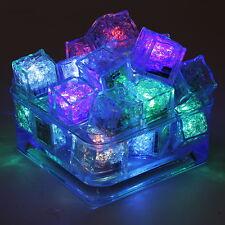 Lot 12pcs Liquid Sensor Flashing LED Light Up Ice Cubes Bar Drink DIY Decorative