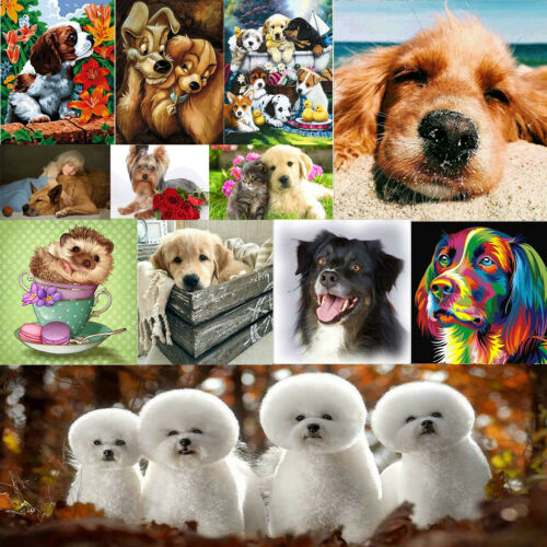 5D DIY Full Drill Diamond Painting Dogs Cross Stitch Kits Home Room Wall Decor