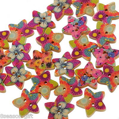 HX 100 Mixed Wood Sewing Buttons Scrapbooking