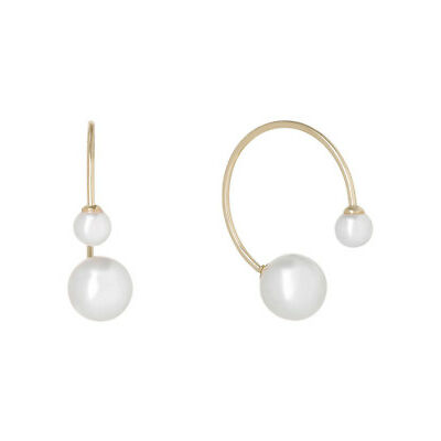 NEW Wayne Cooper Front to back double pearl hoop earrings Gold