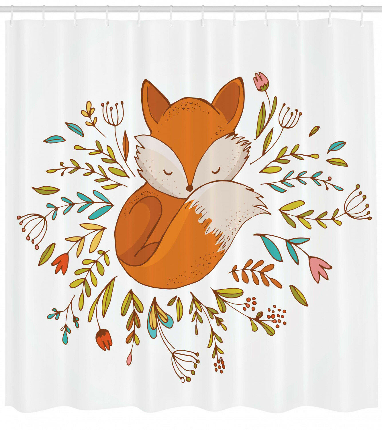 Cartoon Shower Curtain Cute Baby Fox Flowers Print For Bathroom 5a6fdc