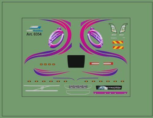 HO/1:87 DIS0354 Volvo Fahrerhaus Decals Dekor• Mehrfarbig •für Zugmaschienen