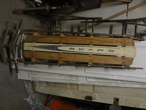 Vintage-wood-wooden-sled-Sears-great-Holiday-decor