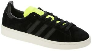size 40 81aeb dcb8e Image is loading adidas-Originals-Campus-Sneakers-BLK-YLLW-BB00882-Size-