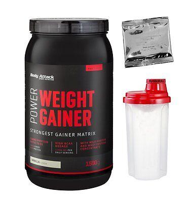 (13,80 €/kg) Power Weight Gainer Body Attack 1500g 1,5 Kg Shaker + Probe Gratis
