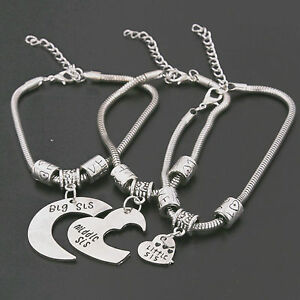 Image Is Loading 3xsilver Plated Heart Moon Middle Little Sis