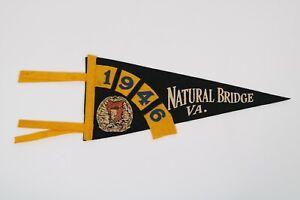 Vintage-1946-Natural-Bridge-VA-12-034-Pennant-Flag-Virginia-Rt-11-Rockbridge