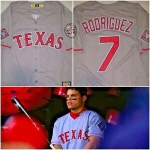 buy popular 7bae4 c45ad Details about Retro Ivan 'Pudge' Rodriguez Texas Rangers Grey #7 Replica  LARGE Baseball Jersey