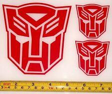 Transformers - Autobot Set of 3 HQ Single Color Red Vinyl Sticker Decal em