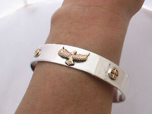 Solid-925-Sterling-Silver-Cuff-Bangle-Bracelet-with-Eagle-26-grams