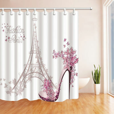 Purple High Heels And Lipstick Polyester Fabric Shower Curtain Set 71Inch Long
