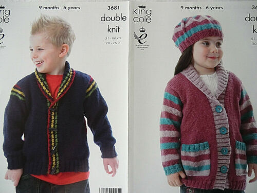 GIRL ROLL COLLAR JACKETS HAT KING COLE BIG VALUE DOUBLE KNITTING PATTERN BOY