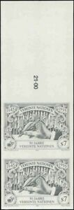 UN Vienna #186-7 Hand. Pen. Imperf Pairs. Mint VF NH. Very rare! 80 Pairs exist!