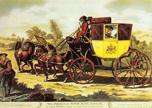 Art-Postcard-The-Original-Bath-Mail-Coach-Horses-Post-Office-44S