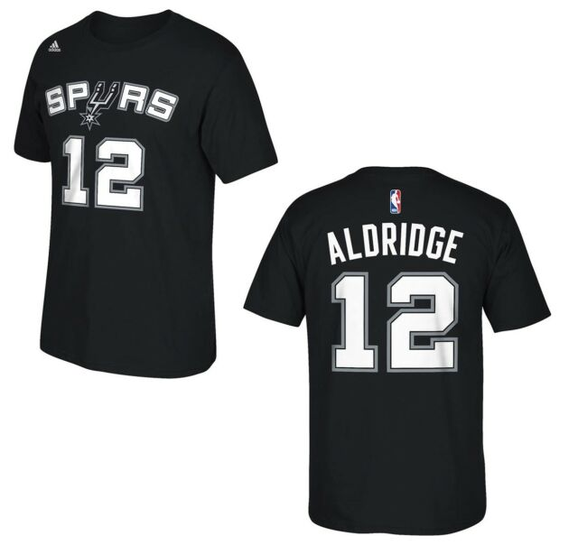 30c7fad96 adidas LaMarcus Aldridge San Antonio Spurs Black Net Number T-shirt ...