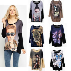 d2bf3711 Vintage Women Cat Kitten Animal Print Ladies Long Sleeve Knitted ...