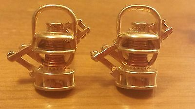 Vintage, Swank, Gold-Tone, Railroad Tracks and Lantern Theme, Cuff Links