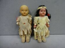 """Native American Indian Boy and Girl Doll 1960s Bisque Japan 3.5"""" Childrens Toys"""