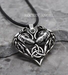 Antique-Silver-Pl-Celtic-Eternal-Love-Triquetra-Wolf-Heart-Pendant-Necklace-Gift