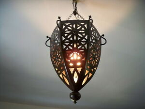 Détails sur lustre plafonnier marocain fer forgé lampe orientale lanterne applique luminaire